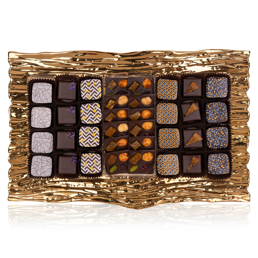 Gold Tree Bark Tray - Truffles and Mendiants