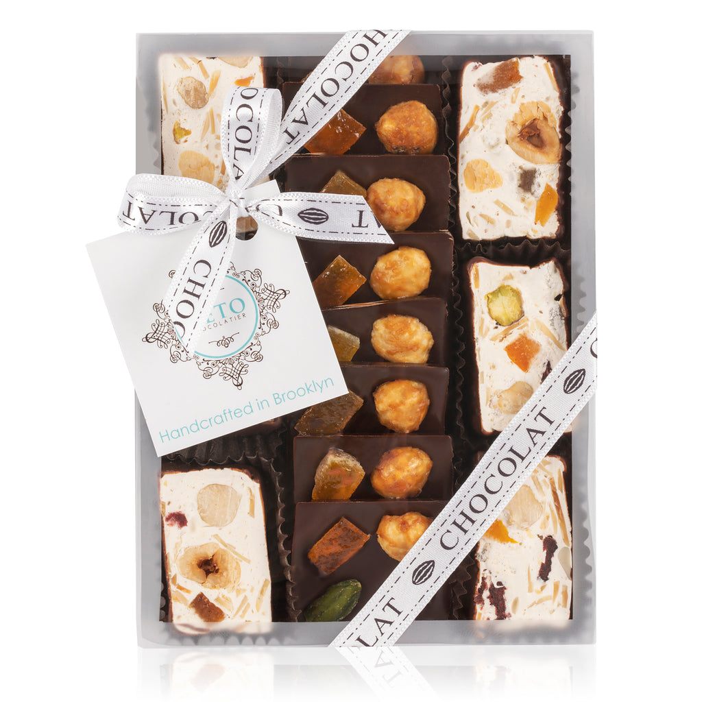 Square Mendiants and Chocolate Dipped Nougat Gift Box