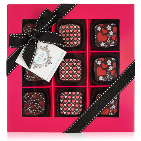 Mother's Day 9pc Hearts Theme Chocolate Gift Fuchsia Box