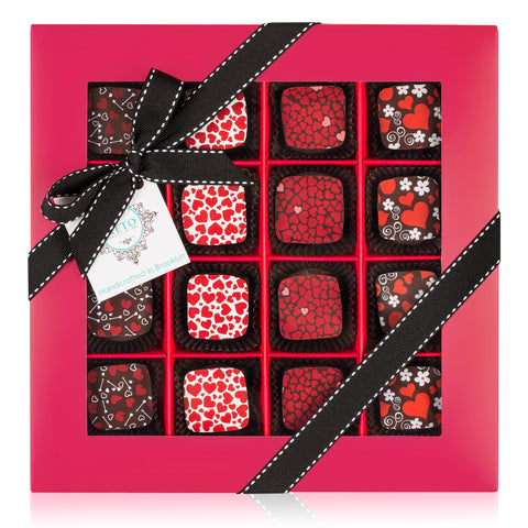 Vegan Valentine's Day Chocolate Gift Box - 16cp Hearts Theme