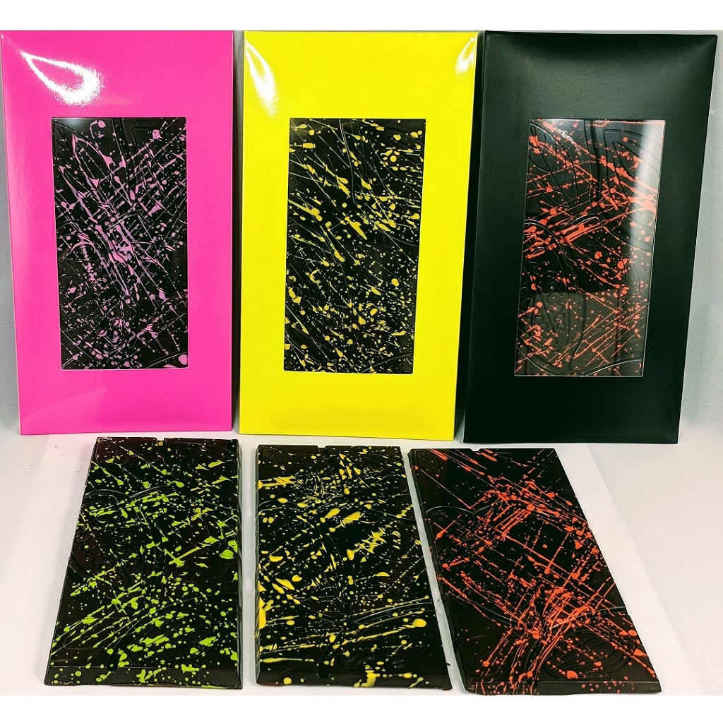 Semi sweet chocolate bars - with splattered color