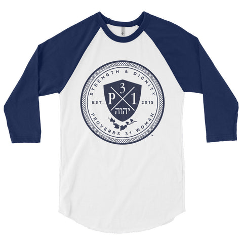 Signature P3One Emblem  3/4 sleeve raglan shirt White/Navy