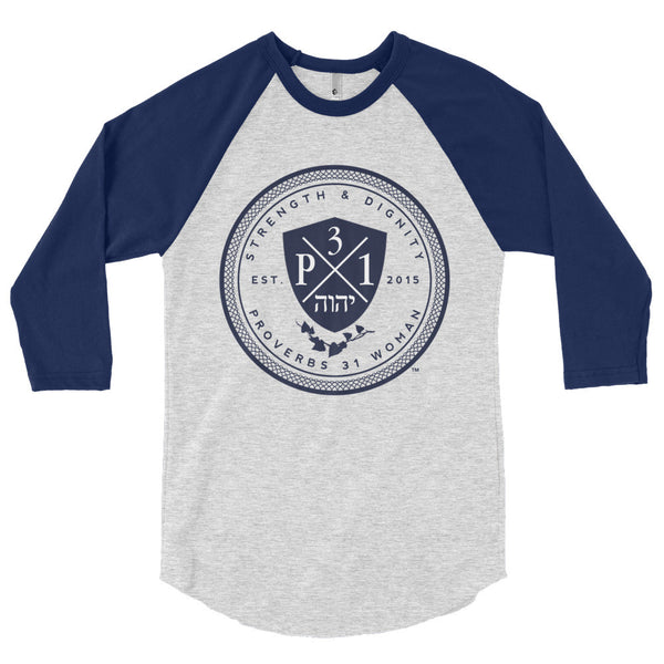 Signature P3One Emblem 3/4 sleeve raglan shirt Grey/Navy