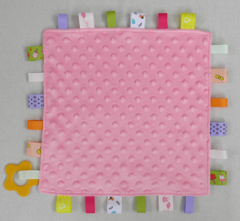 C6 Pink  Baby Comforter With Teether Ring..