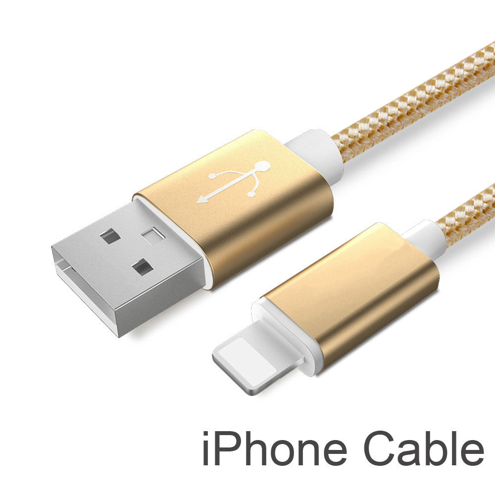 Colorful Nylon Line and Metal Plug Micro USB Cable for iPhone 6 6s Plus 5s 5 iPad mini