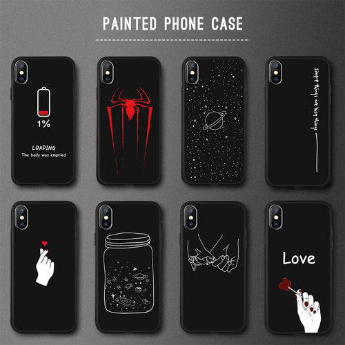 Black Pattern Soft TPU Silicone Cases for iPhone