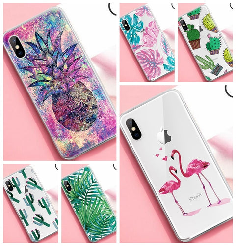 TPU Cactus Pineapple Patterned Case For iPhone X XS Max XR 7 8 6 6S Plus 10 5 S 5S SE Ultra Thin TPU Cover Phone Cases