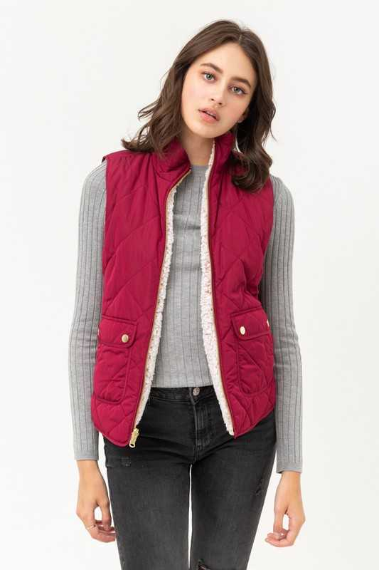 Wine Quilted & Sherpa Reversible Vest