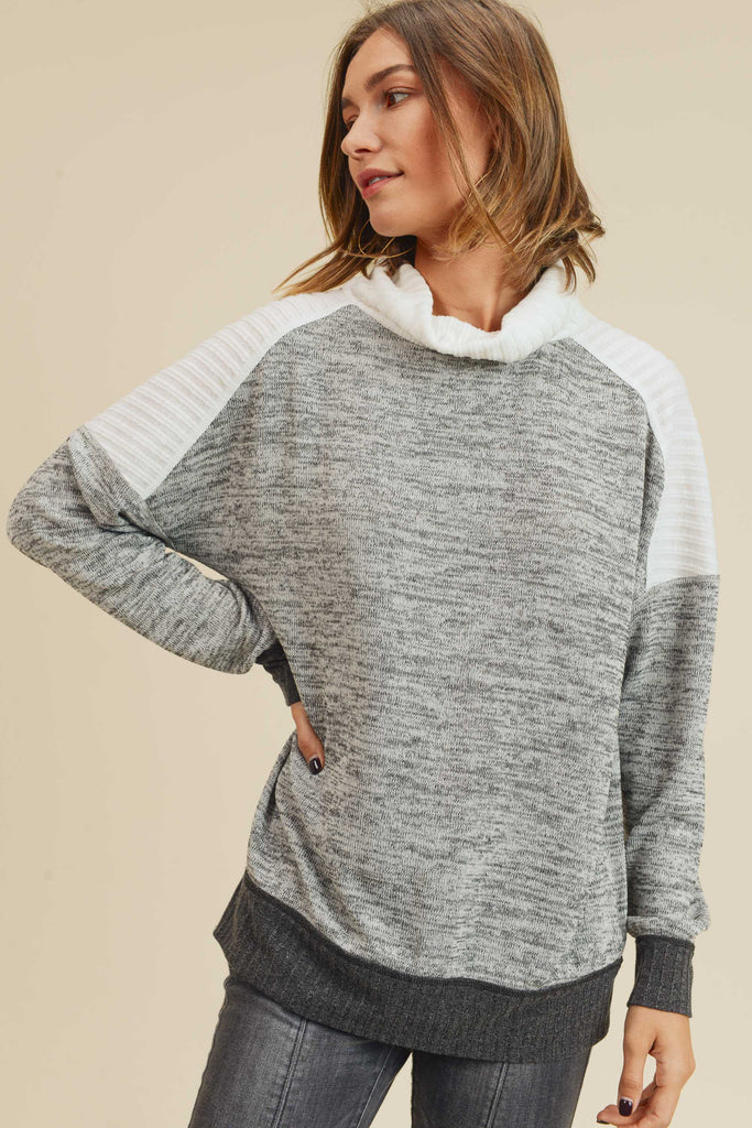 Grey Cowl Neck Dolman Top