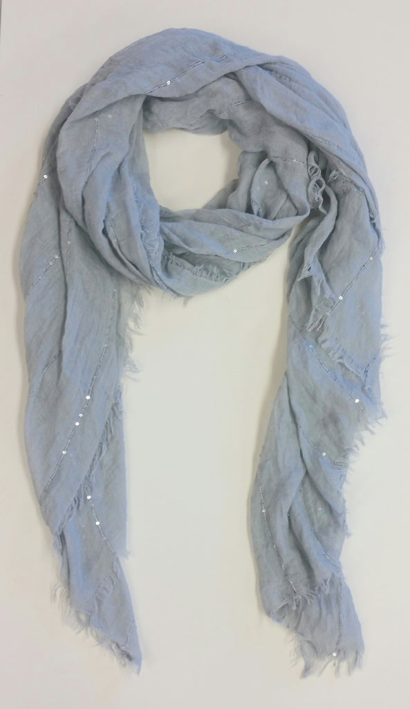Gray Sequin Stripe Scarf