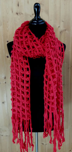 Red Open Waffle Knit Scarf