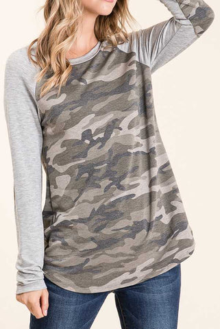 Camo Long Sleeve Raglan Top