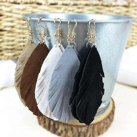 Suede Fringe Teardrop Earrings