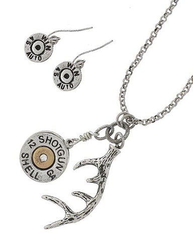 Antler & Shotgun Shell Necklace Set
