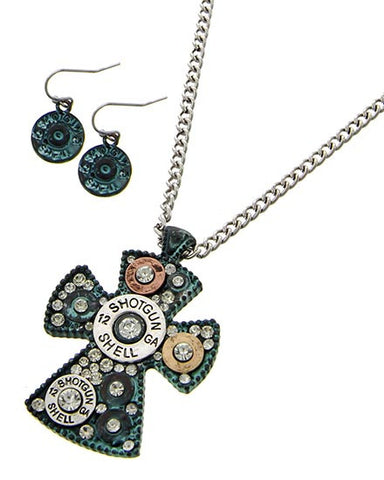 Turquoise Cross Shotgun Shell Necklace Set