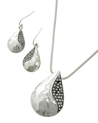Silver Teardrop Necklace Set