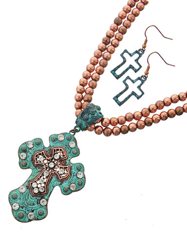 Turquoise Cross Necklace Set