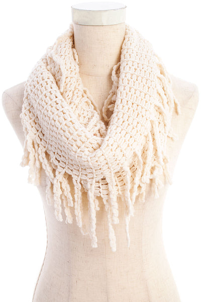 Cream Braided Fringe Knit Infinity Scarf