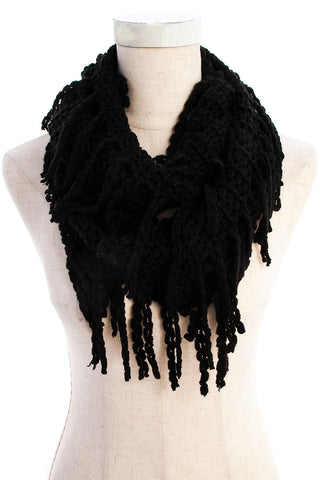 Black Braided Fringe Knit Infinity Scarf