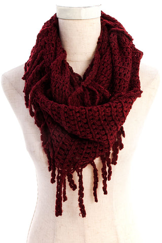 Burgundy Braided Fringe Knit Infinity Scarf