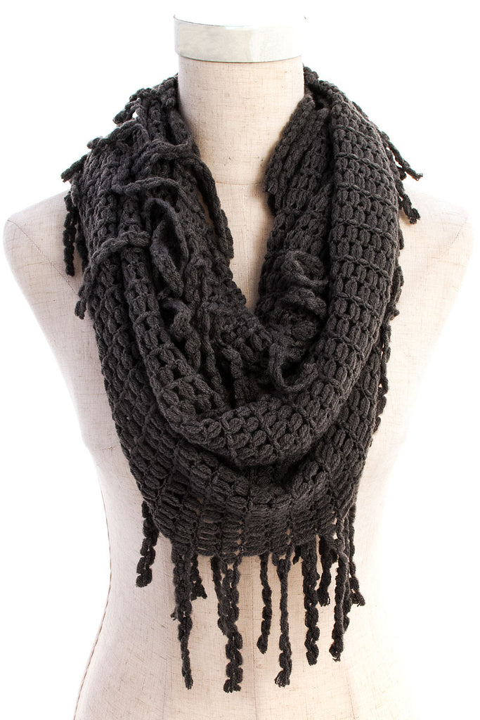 Charcoal Braided Fringe Knit Infinity Scarf