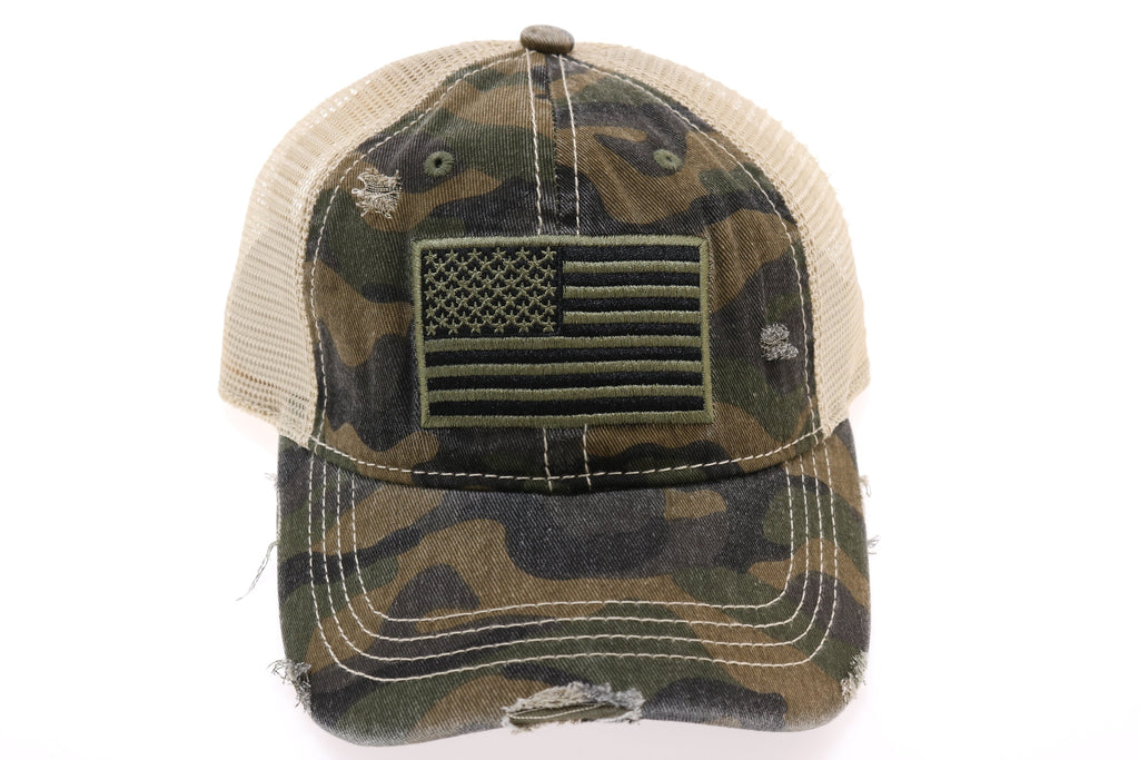 C.C USA Flag Camo High Pony Ball Cap