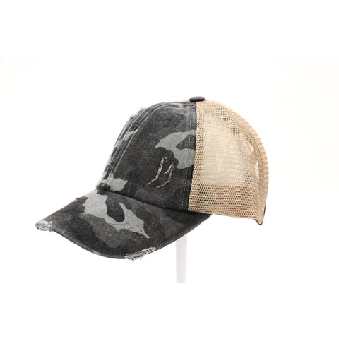 C.C Criss Camo Cross High Pony Ball Cap