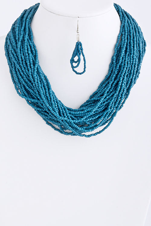 Blue Bead Necklace Set