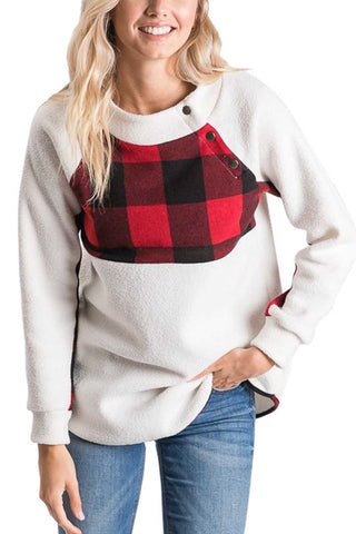 Buffalo Plaid Button Neck Sweatshirt