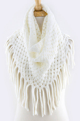 Cream Diamond Knit Infinity Fringe Scarf