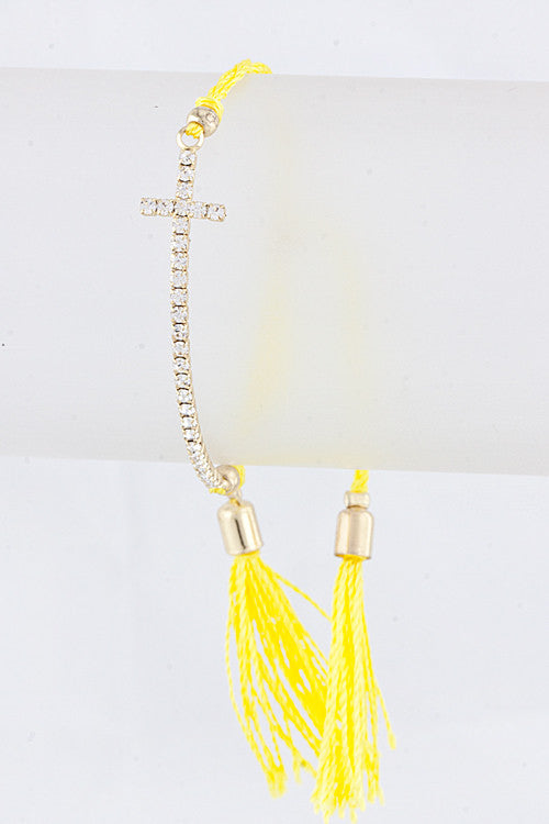 Yellow Cross String Bracelet
