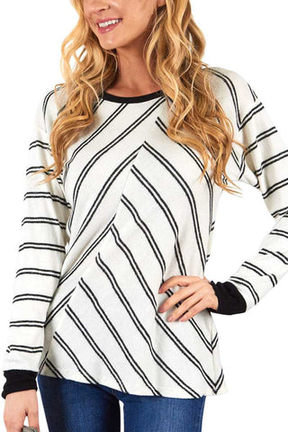 Striped Contrast Long Sleeve Top