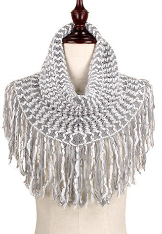 Ivory & Gray Two-Tone Fringe Knit Scarf