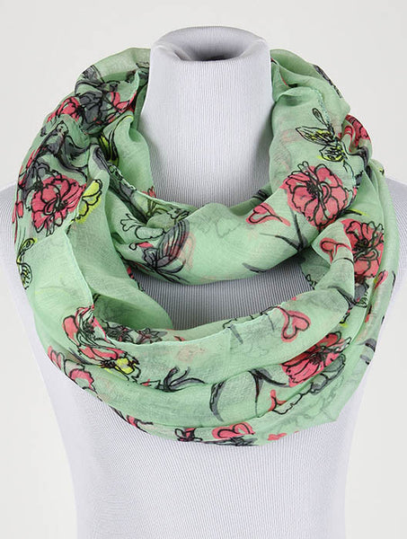 Green Floral Print Infinity Scarf