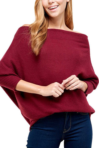 Brushed Waffle Knit Off Shoulder Dolman