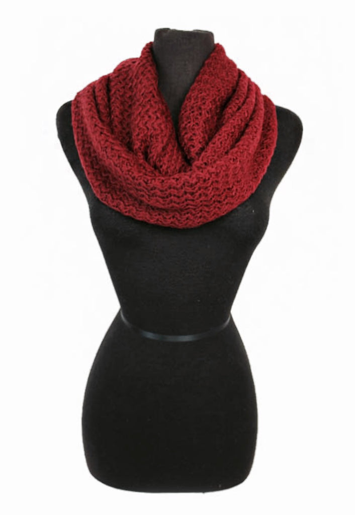 Dark Red Knit Infinity Scarf