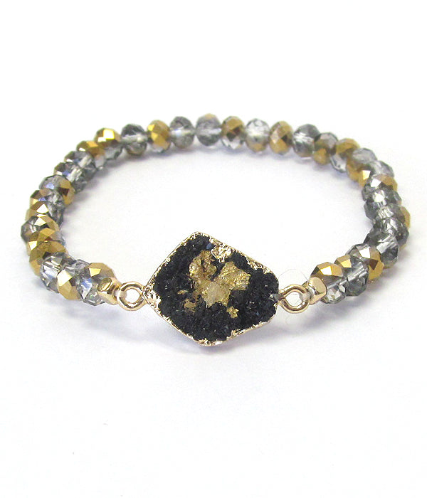 Druzy Stretch Bead Bracelet