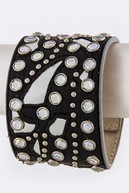 Leather Cuff with Rhinestones