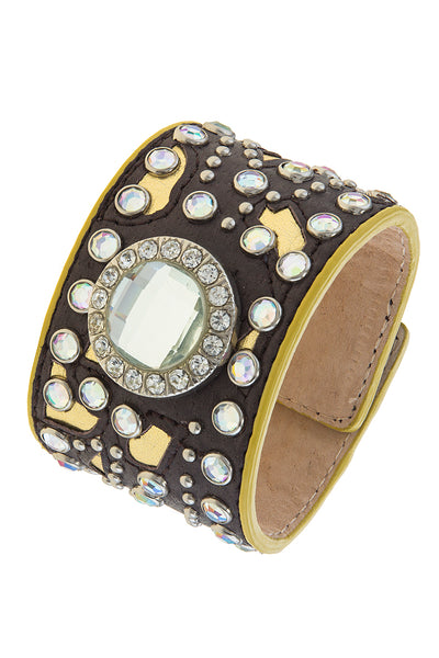 Leather Rhinestone Stud Cuff