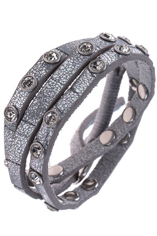 Leather Crystal Stud Wrap Bracelet