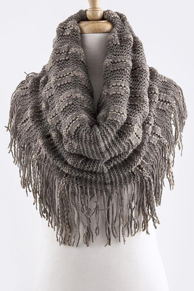 Mocha Knit Fringe 2-IN-1 Scarf