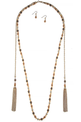 Long Tassel Necklace Set