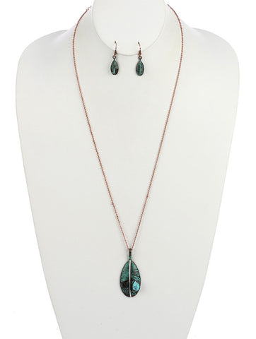 Turquoise Metal Feather Necklace Set