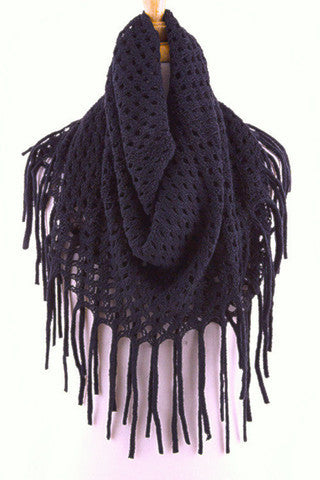 Navy Blue Diamond Knit Infinity Fringe Scarf