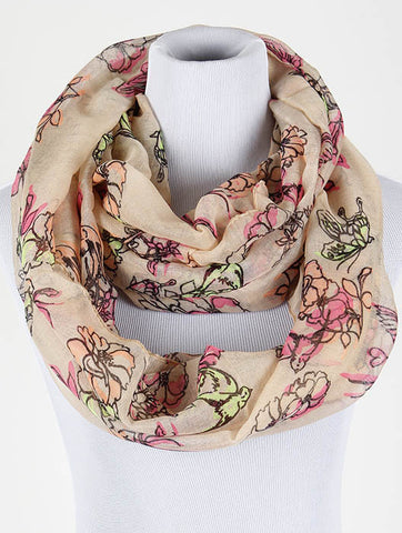 Peach Floral Print Infinity Scarf