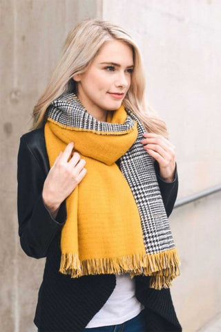 Mustard Houndstooth Reversible Scarf