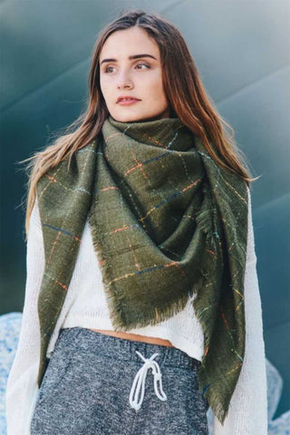 Olive Checked Blanket Scarf