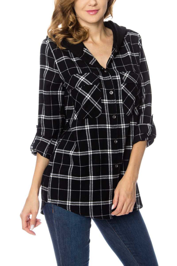 Plaid Button Down Top with Hood