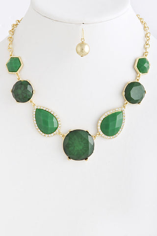 Emerald Jeweled Necklace Set