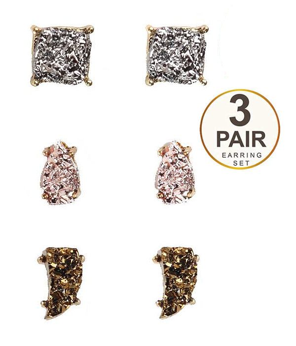 Druzy Earring Set